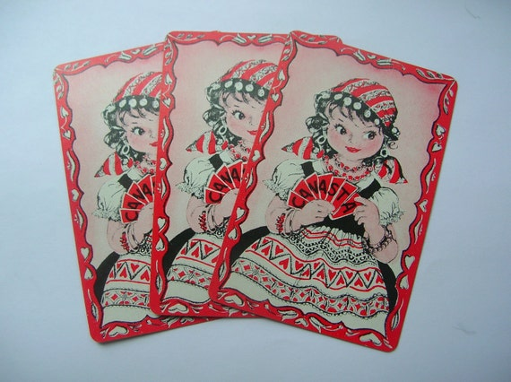 Vintage gypsy fortune teller playing cards by ...