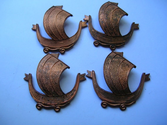 SALE Oxidized brass Viking  ship,boat,findings for crafts,destash,,jewelry,