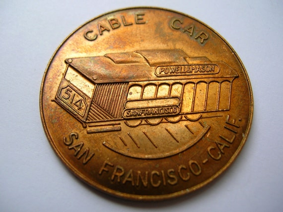 Large San Francisco cable car coins  tokens for repurpose crafts art mosiacs altered art assemblage