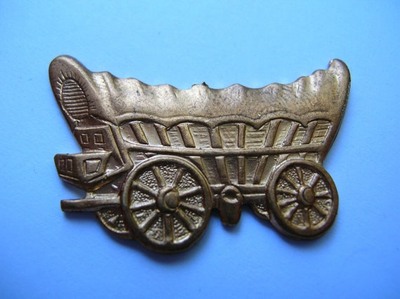 Rawhide chuck wagon,covered wagon findings,stamping,,vintage jewelry supply,destash,brass