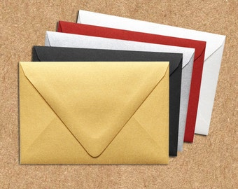 A4 Contour Flap Envelopes (4 1/4 x 6 1/4) - Gold Metallic - Quantity of 50