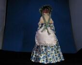 Folk Art Black Walnut face doll, Handmade by Mrs. JL Jackson, Vintage material on dress