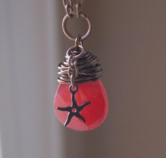 Seastar & jade necklace. Red Jade Teardrop and Seastar necklace