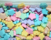 60 Assorted Plastic Pastel STAR Beads