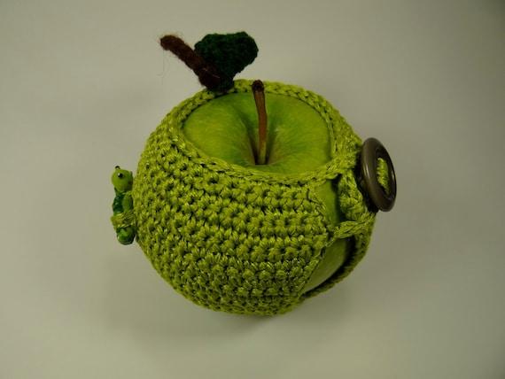 Handmade crochet Green Apple Cozy