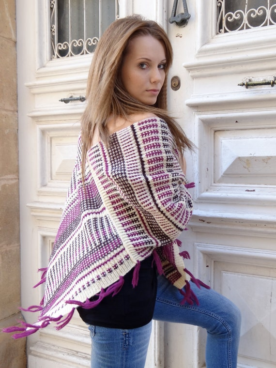 Creative knitted poncho in the Latin American style
