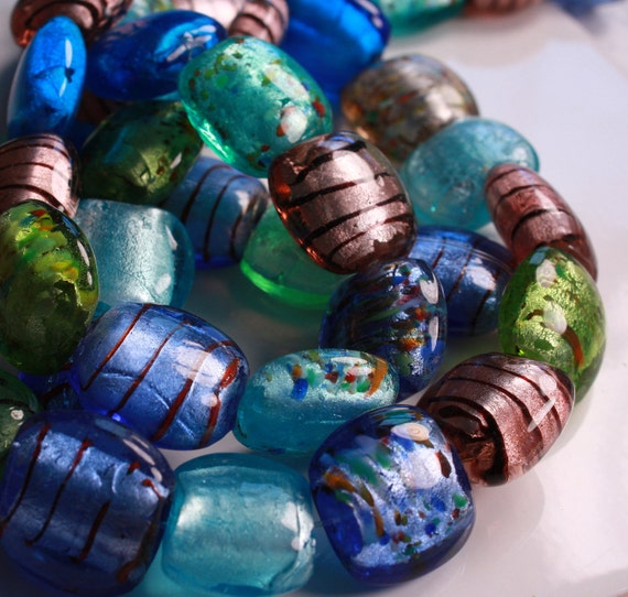 """Lamp Work Rounded Square (cushion) Beads, Mulit Blue/Green 20x20mm, 15"""" strand (LW.0019a,19b)"""