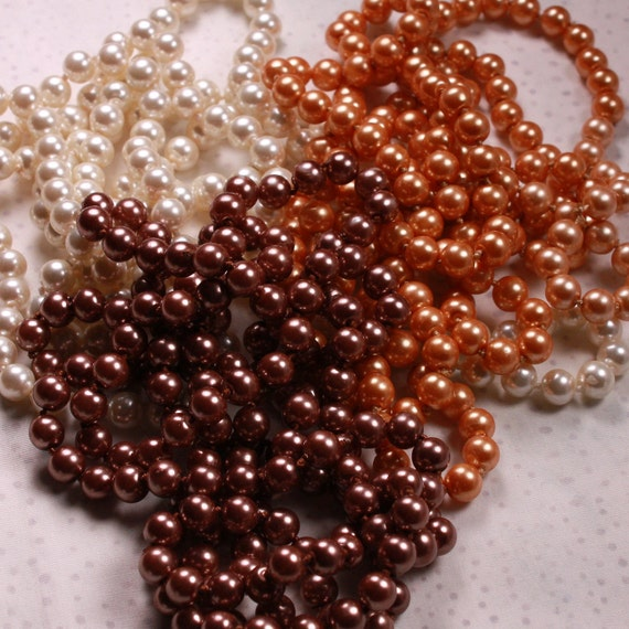 "Glass Pearls - 3 Strands 60"" each - Bronze, White and Taupe 8mm Round"