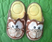 Brown and Yellow Embroidered Monkey Slippers