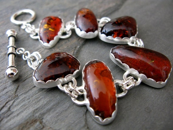 Natural Baltic amber and sterling silver bracelet -metalsmith silversmith