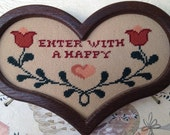 """Needlepoint heart & tulips """"Enter with a Happy Heart"""" wood frame"""