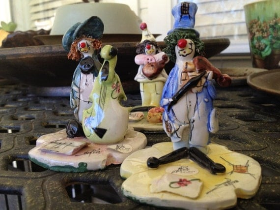 Vintage Zampiva trio Italian clown figurines made in Italy