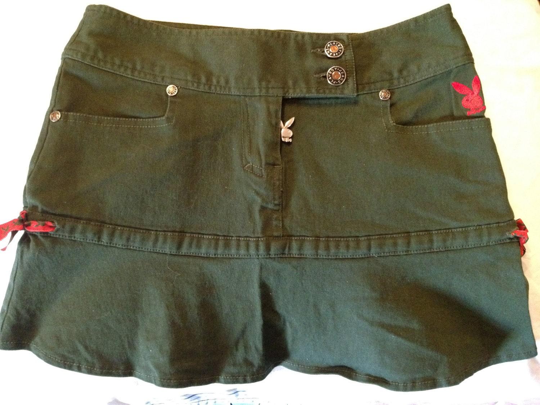 size 4 bunny navy green denim mini skirt by