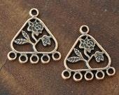 8 Pcs Chandelier Earring Component, Antique Copper, 23x21mm Triangle