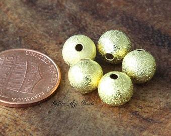 Stardust Bead, Gold Tone, 8mm Round - 50 pcs - eSTR01G-8