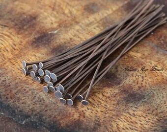 Brass Head Pin, Antique Copper, 2in (50mm) 20 gauge - 100 pcs - eHPAC20-5