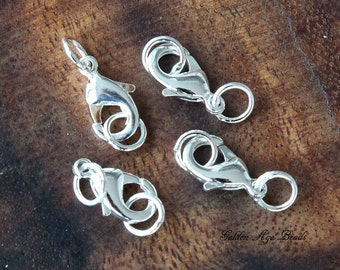 Lobster Clasp With Rings, Silver Plated Brass, 15x9mm - 4 pcs - eCL004-ST