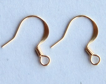 50 Pcs Earwire, Gold Tone Brass Flat Fish Hook, 16mm - eBH004-GT