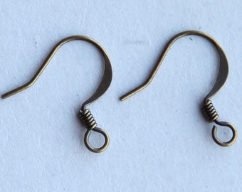 50 Pcs Earwire, Antique Brass Flat Fish Hook, 16mm - eBH004-AB