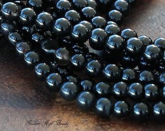 Black Agate Beads, 4mm Round - 15 Inch Strand - eGR-AG002-4