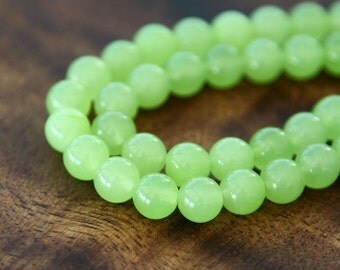 Dyed Jade Beads, Lime Green, 8mm Round - 15 Inch Strand - eSJR-G26-8