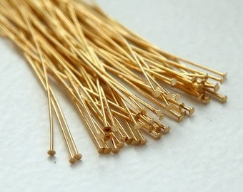 Brass Head Pins, Gold Plated, 2inch (50mm) 24 gauge - 100 pcs - EHPGPB24-2