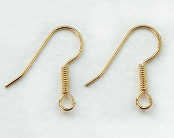 50 Pcs Earwire, Gold Plated Surgical Steel Fish Hook, Long Coil, 20mm - eSH003-GP
