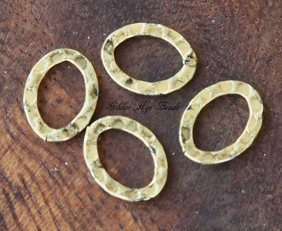 12 pcs Hammered Oval Link, Antique Gold, 12x10mm - eSL7842AG
