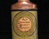 1910s Cashmere Bouquet Powder Tin Sample Size Talc Powder Unused and Full Tin