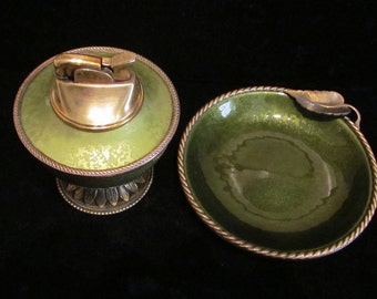 Vintage Evans Guilloche Table Lighter and Ashtray 1950s Mid Century Working Lighter Excellent Condition