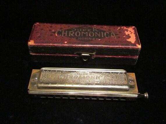 1930s Hohner Super Chromonica 270 Harmonica w/Original Wood Box  Key of C Very Good Condition