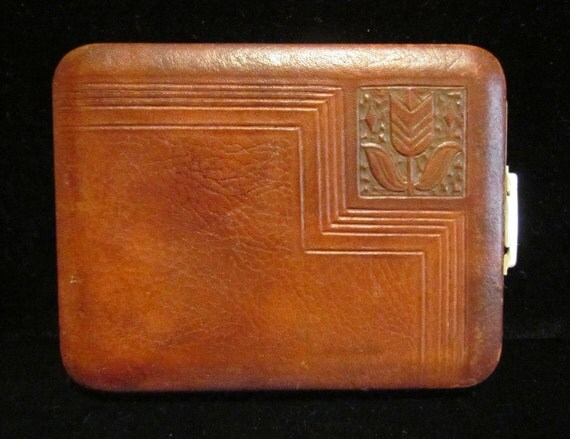 Vintage Lin Bren Cigarette Case Tooled Leather and Brass Business Card Case 1940s Made in USA Very Good Condition