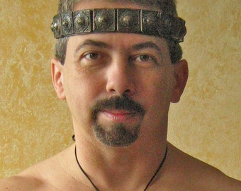 Medieval Barbarian Gladiator Celtic Leather/Metal Headband Crown