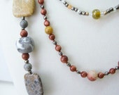 Fossil Coral Trio 3 necklaces, 1 pr earrings, 1 bracelet