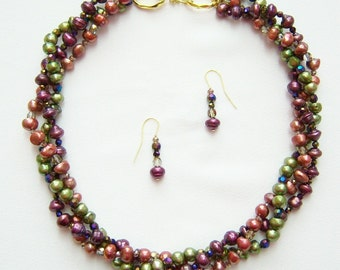 Fruitful Torsade pearl necklace and earrings. 50% OFF. Use coupon code 50OFFend13.
