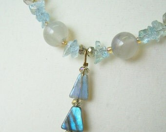 Lightening Labradorite Aquamarine necklace and earrings