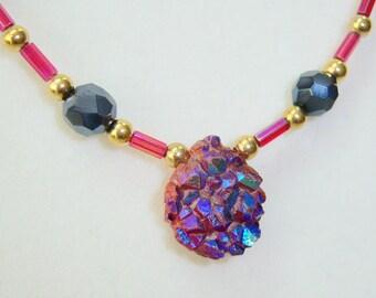 Blue Fuchsia Titanium Quartz Necklace and Earrings - DPF