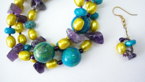 Ancient influence semi-precious necklace&bracelet, earrings.