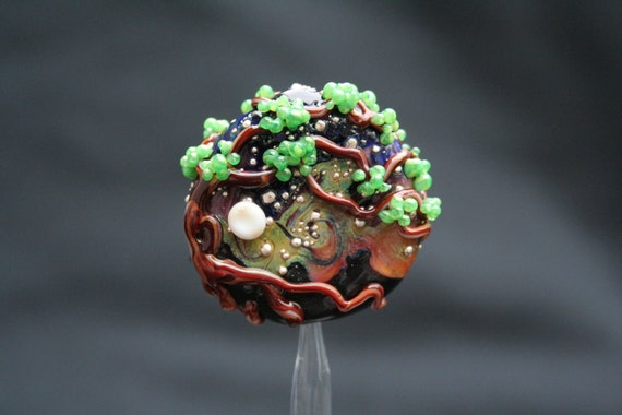 Medium Lampworked Focal Bead, Summer Bonsai Tree at Dusk with Full Moon and Starry Sky, Green, Pink, Blue, Purple, and Silver