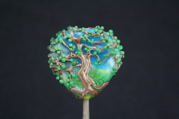 Summer Oak Tree on a Sunny Day, Medium Sized Focal Bead, Handmade Moretti Glass Lampwork Bead, Blue, Green, Brown
