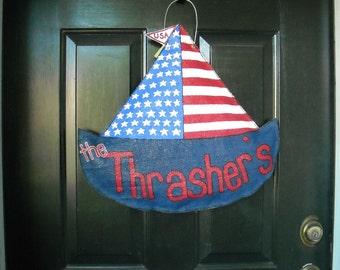 Patriotic Sailboat Door Decoration, American flag