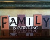 FAMILY IS EVERYTHING Wood Block Set / Decorative Wood Blocks for home decorating - Perfect addition to fireplace mantel or bookshelf