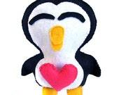 Valentine Penguin Stuffed Felt Toy