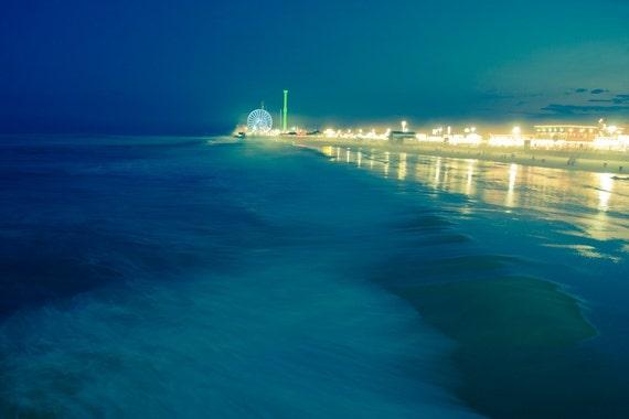Jersey Shore, Seaside Heights, Teal Blue, Amusement Park and Ocean Waves, New Jersey Summer Storm, Beach Photograph 8x12
