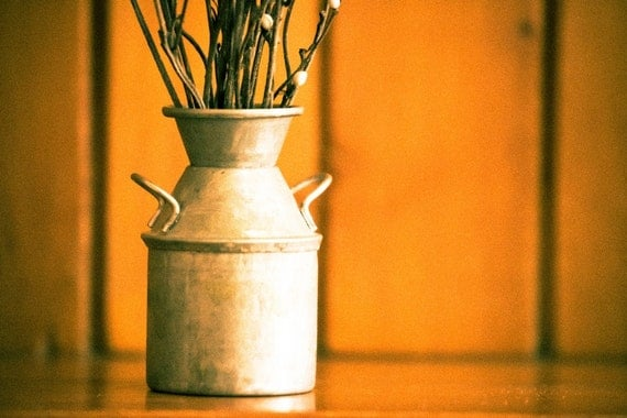 Still Life Photography, Vintage Mini Milk Canister Vase, 8x12 or 8x10 Canvas or Photo Paper Print