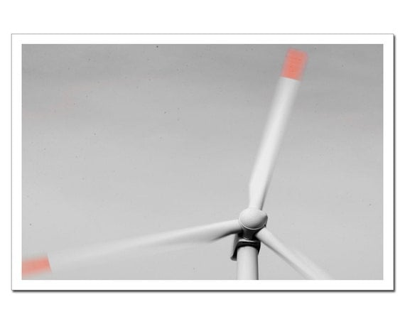 Minimalistic Photography, Windmill Photograph, Home Decor Print Wind Turbine Photograph 8x10 or 8x12, peach coral