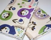 Baby girl burp cloths, Matryoshka set of 2, Vanilla chenille,  Ready to Ship