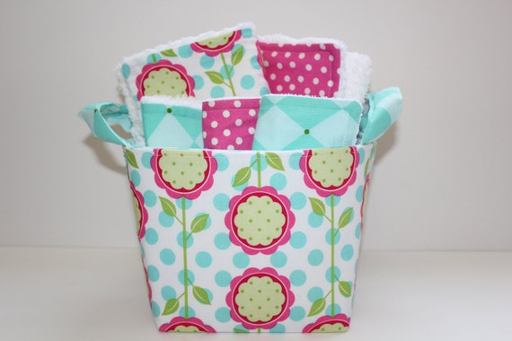 Baby gift basket, Mod blooms, Burp cloth set, Wash cloth set, bib and  fabric storage bucket.