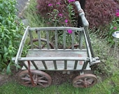 Reserved for Nikki Industrial Vintage Garden farm wagon wooden and metal wheels green lawn decor Country cottage