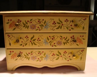 Vintage European hand painted wooden  Jewelry box Milano Italy